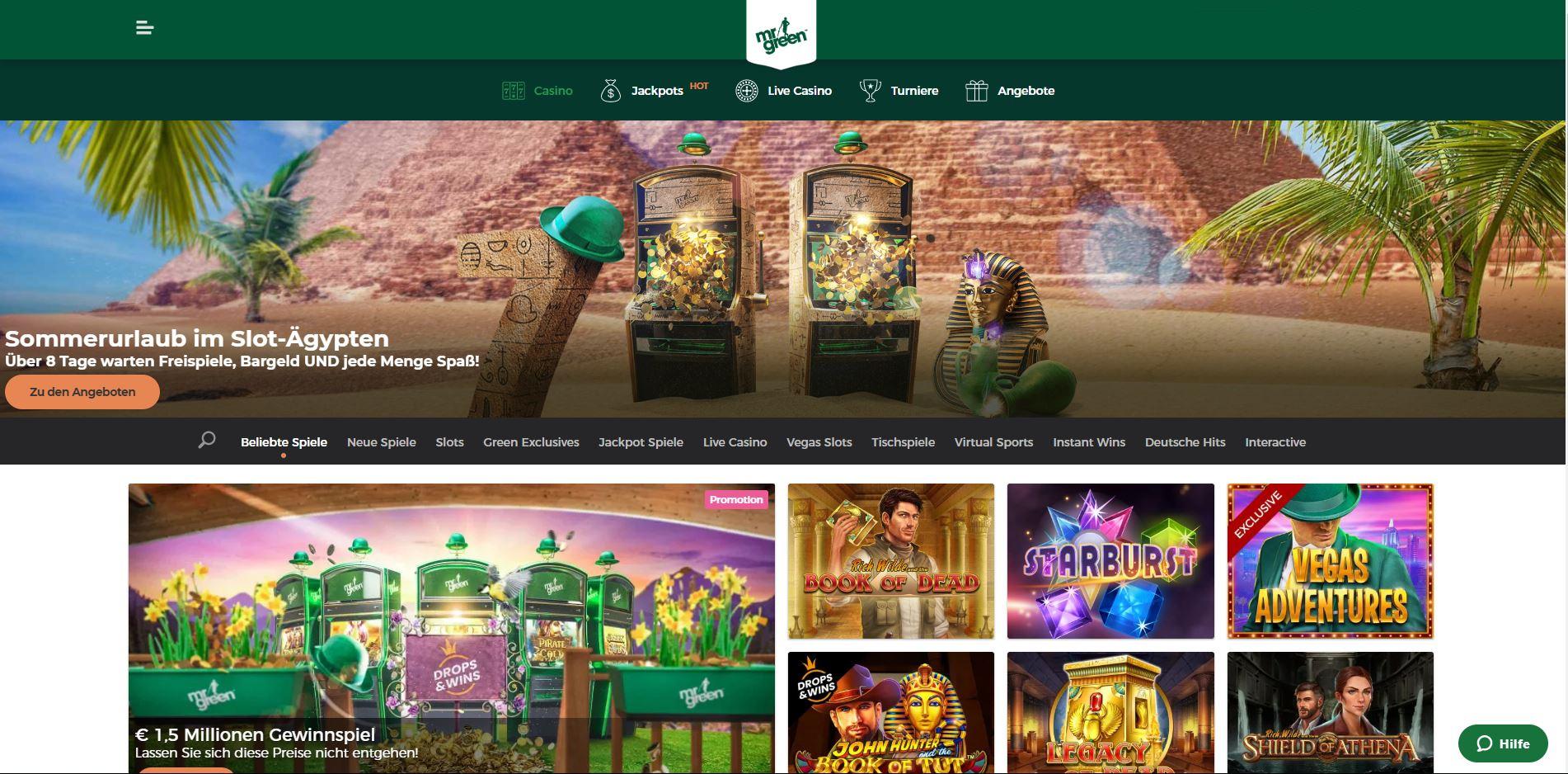 Die Webseite vom Mr Green Online-Casino.