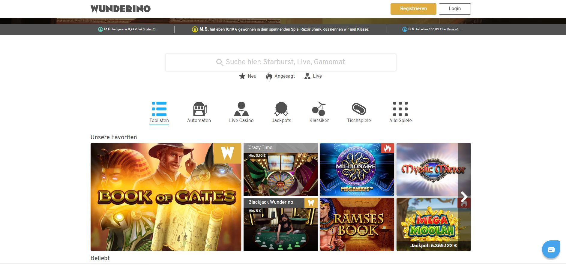 Die Startseite des Online-Casino Anbieters Wunderino.